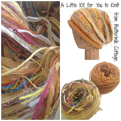 Boutique Yarn Slouchy Hat Knitting Kit Gold by Buttermilk Cottage