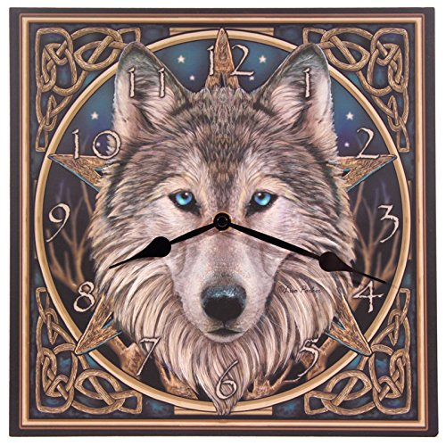 Celtic Wolf Head Picture Clock by Giftbrit ()