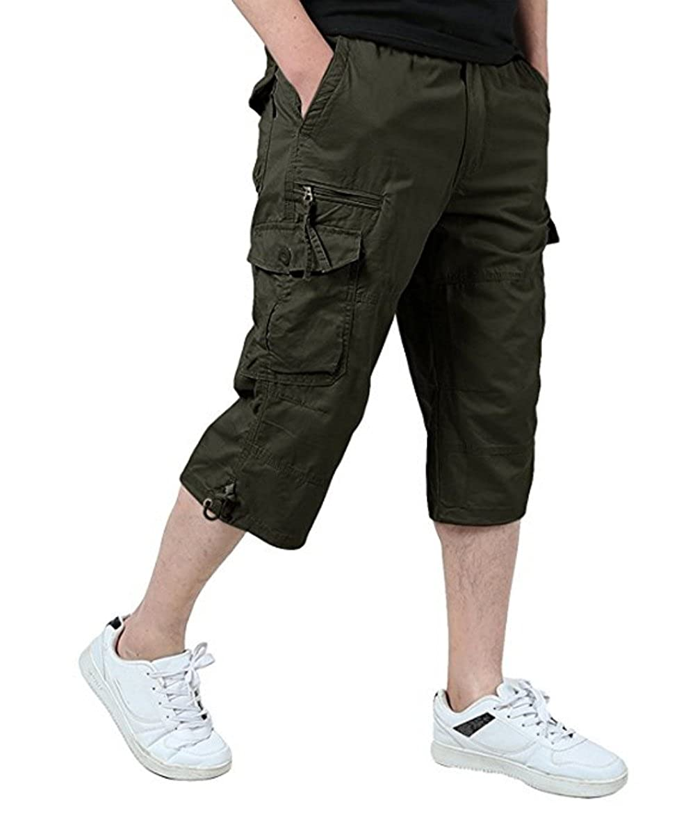 Calsky Mens Casual Slim Fit Cotton Solid Multi-Pocket Cargo Camouflage Shorts