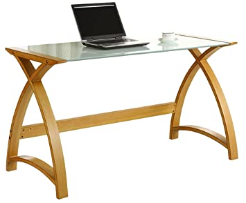 Jual Curve Curved Oak and White Glass Laptop Desk Amazoncouk