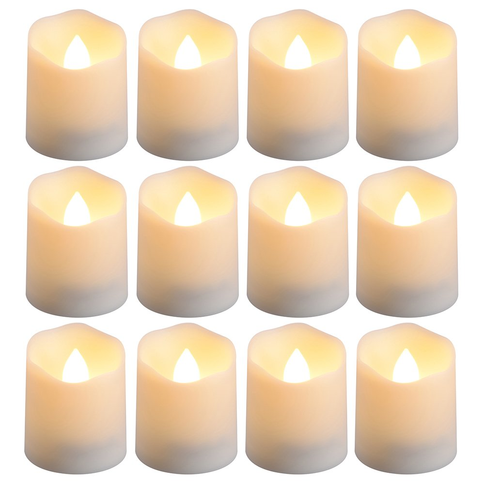 PChero Battery Operated Timer Candles, 12 pcs Flameless LED Tealight Candles for Birthday Wedding Party Home Decor, 200 Hours (Batteries Included), Warm White