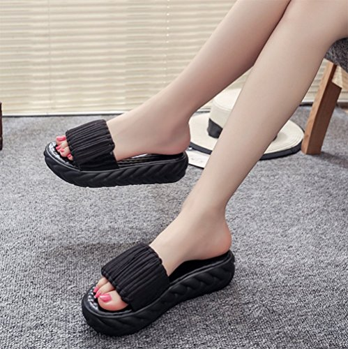 Summer Flat Bottom Non Slippers Lady Lined Slippers Canvas Thick Soled Slip weiwei D B5W8YwUZqw