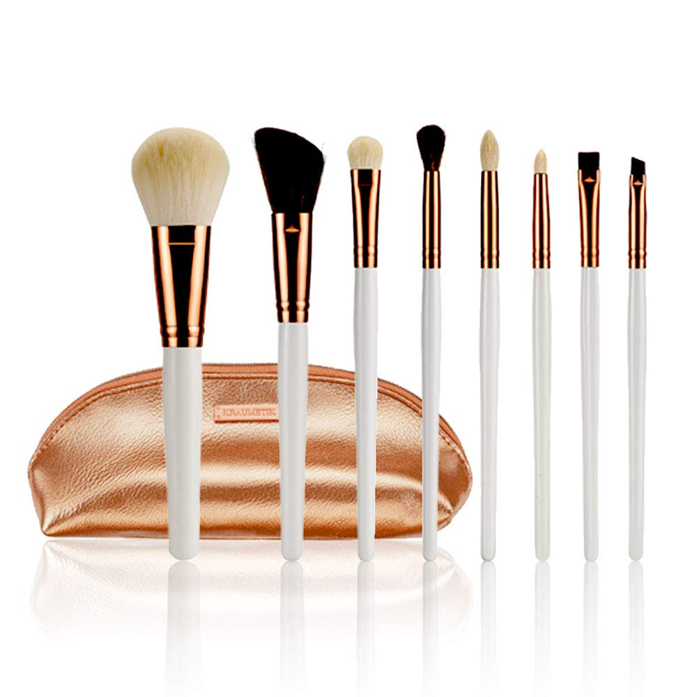 KRAUMETIK 8-Piece Makeup Brushes Set,Premium Synthetic Brush Blending Face Powder Blush Concealers Eye Cosmetics Make Up Kits