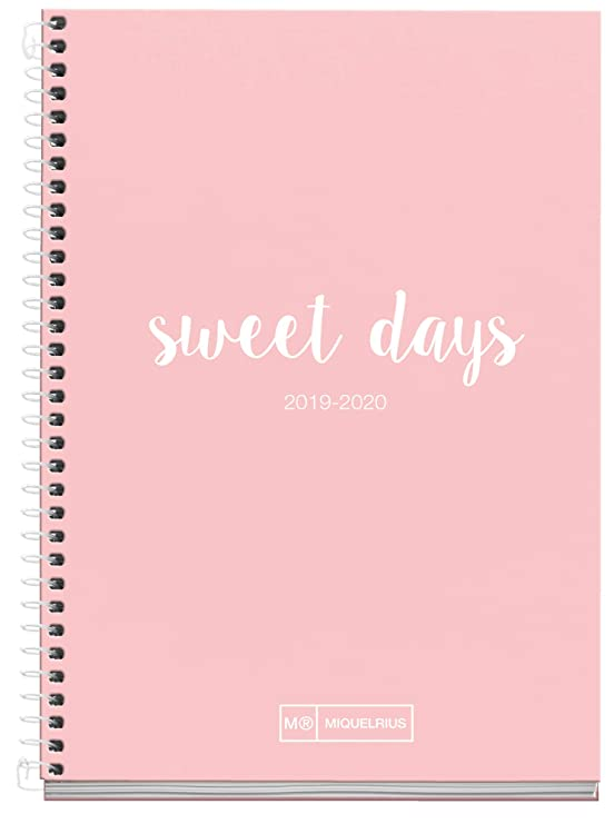 Miquelrius Agenda Escolar con espiral 2019 2020 Semana Vista Lettering Rosa Catalán 117x174 mm