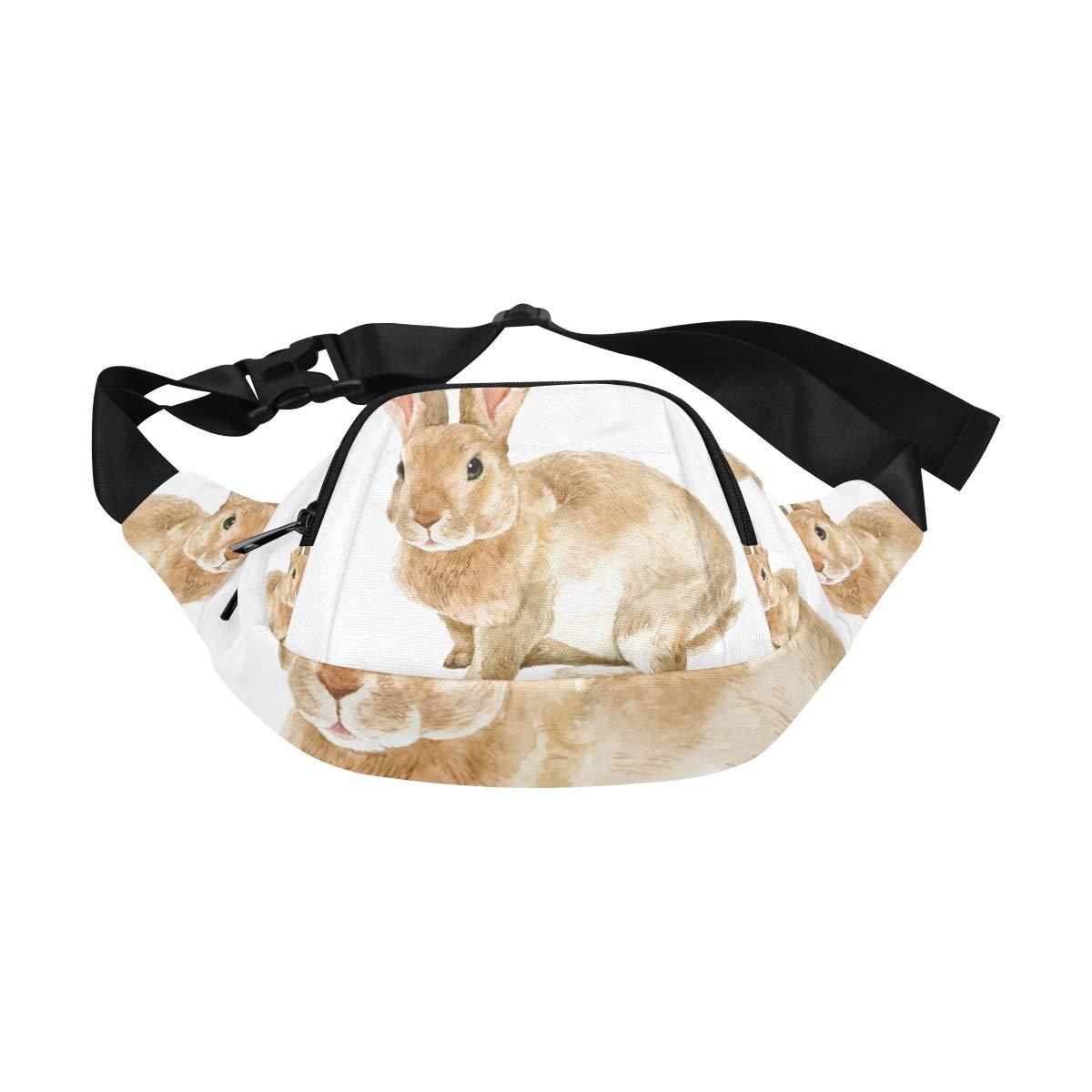 Cute Brown Rabbit Among The Flowers Fenny Packs Waist Bags Adjustable Belt Waterproof Nylon Travel Running Sport Vacation Party For Men Women Boys Girls Kids