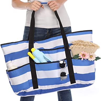 Large Single Painter Stripe Canvas Beach Tote Bag