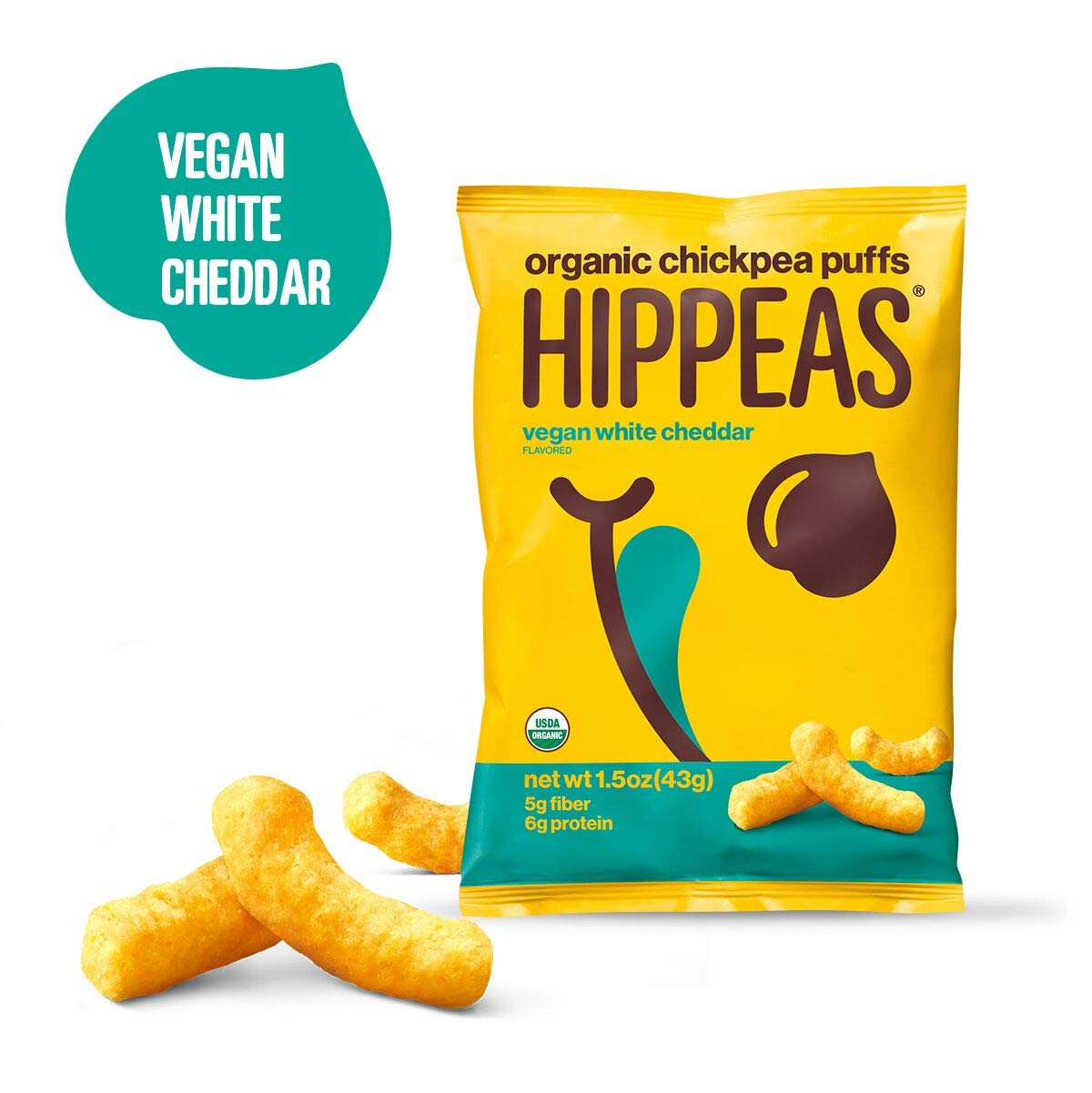 Hippeas Organic Chickpea PuffsOrganic Chickpea Puffs + Vegan White Cheddar | 1.5 ounce, 12 count | Vegan, Gluten-Free, Crunchy, Protein Snacks