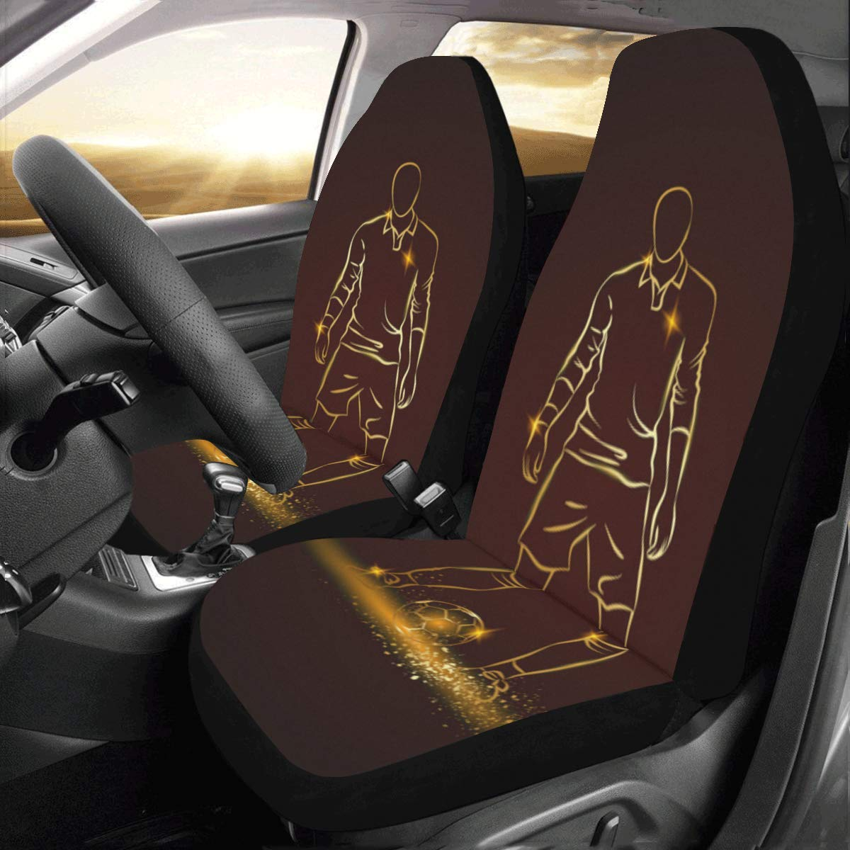 InterestPrint Front Car Seat Covers Set of 2 Design Basketball Fabric Protector Cases for Sedan Truck SUV Van