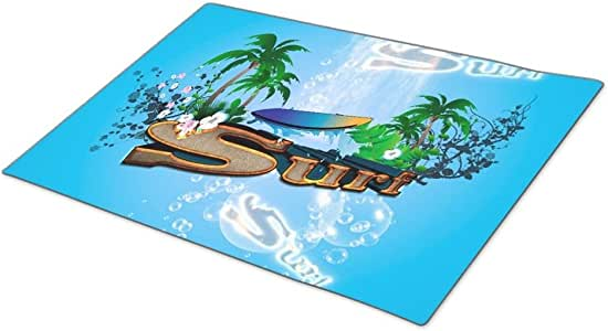Handyou Tropical Surfboard Washable Door Mat