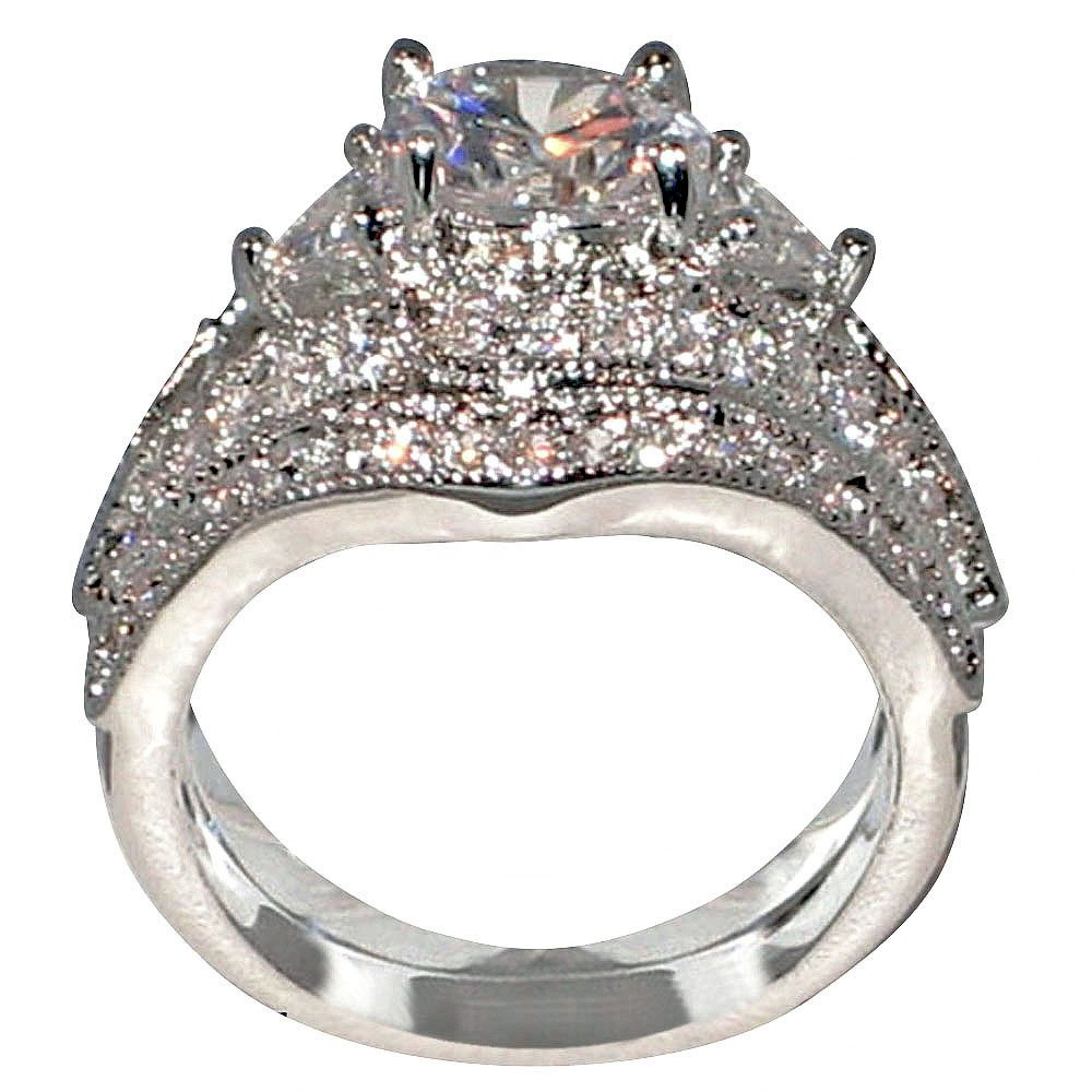 Antique Style Queen Victoria 2.94 Ct. Round-shape and Triangle-shape Cz Cubic Zirconia Engagement Bridal Wedding 2 Pc. Ring Set (Center Stone Is 2 Cts.) (8.5)