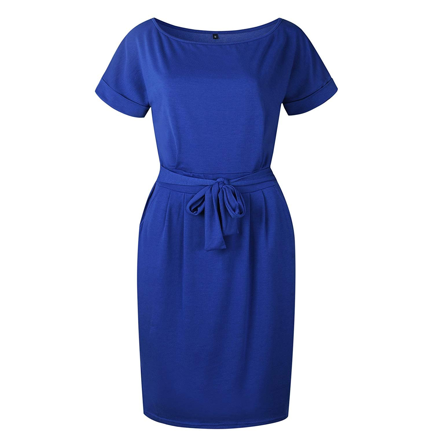 MIDOSOO Womens Business Wear to Work Short Sleeve Pencil Dress with Pockets Blue M by MIDOSOO (Image #4)