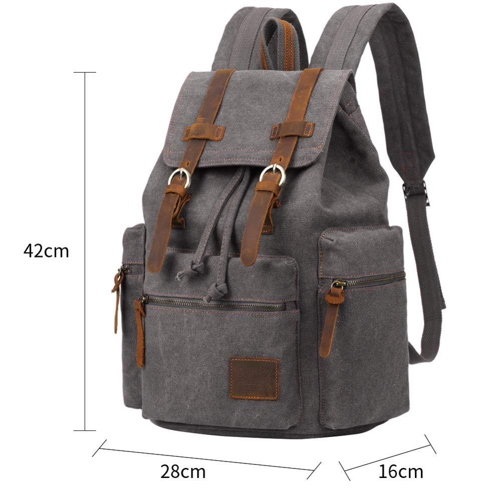 MIJNUX Vintage Leather Military Backpack Male//Female Student Backpack Mens Travel Bag Large Canvas Backpack Large Capacity Bag
