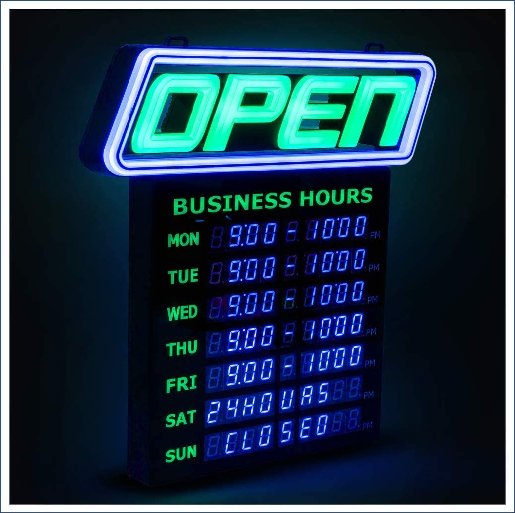 OPEN Chasing Flashing LED Sign 15 x 27