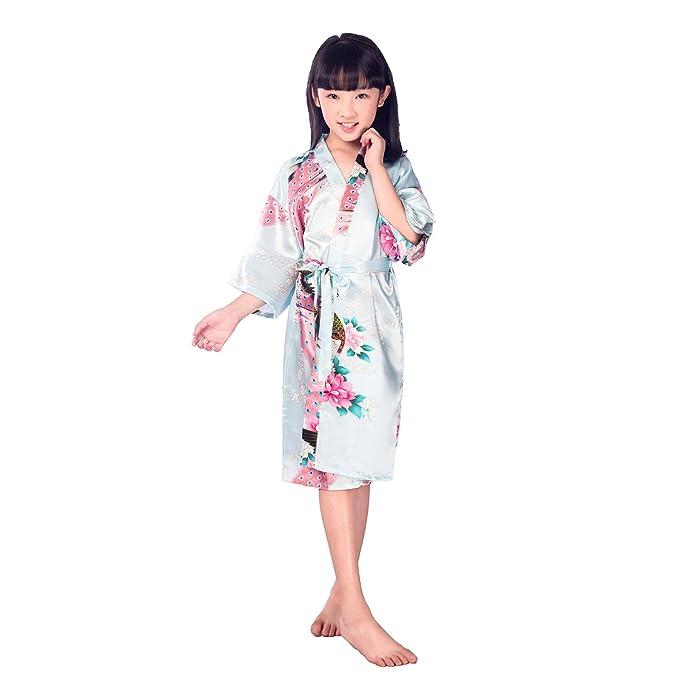 Juleya Kids Girls Batas de Seda Traje de satén Corto Floral Peacock Kimono Mancha Ropa de Dormir: Amazon.es: Ropa y accesorios