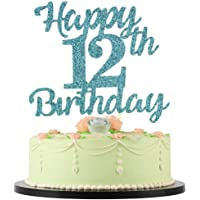 LVEUD 12th Birthday Cake Topper for Happy Birthday, 12 Blue Flash 12th Cake Topper,Happy Birthday Cake Topper Cake…