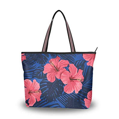 d0f89744a4a0 Amazon.com: Tropical Palm Leaves With Hibiscus Flowers Reusable Tote ...