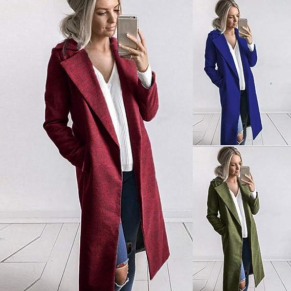 Owill Women Coat, Autumn Winter Long Lapel Parka Jacket ...