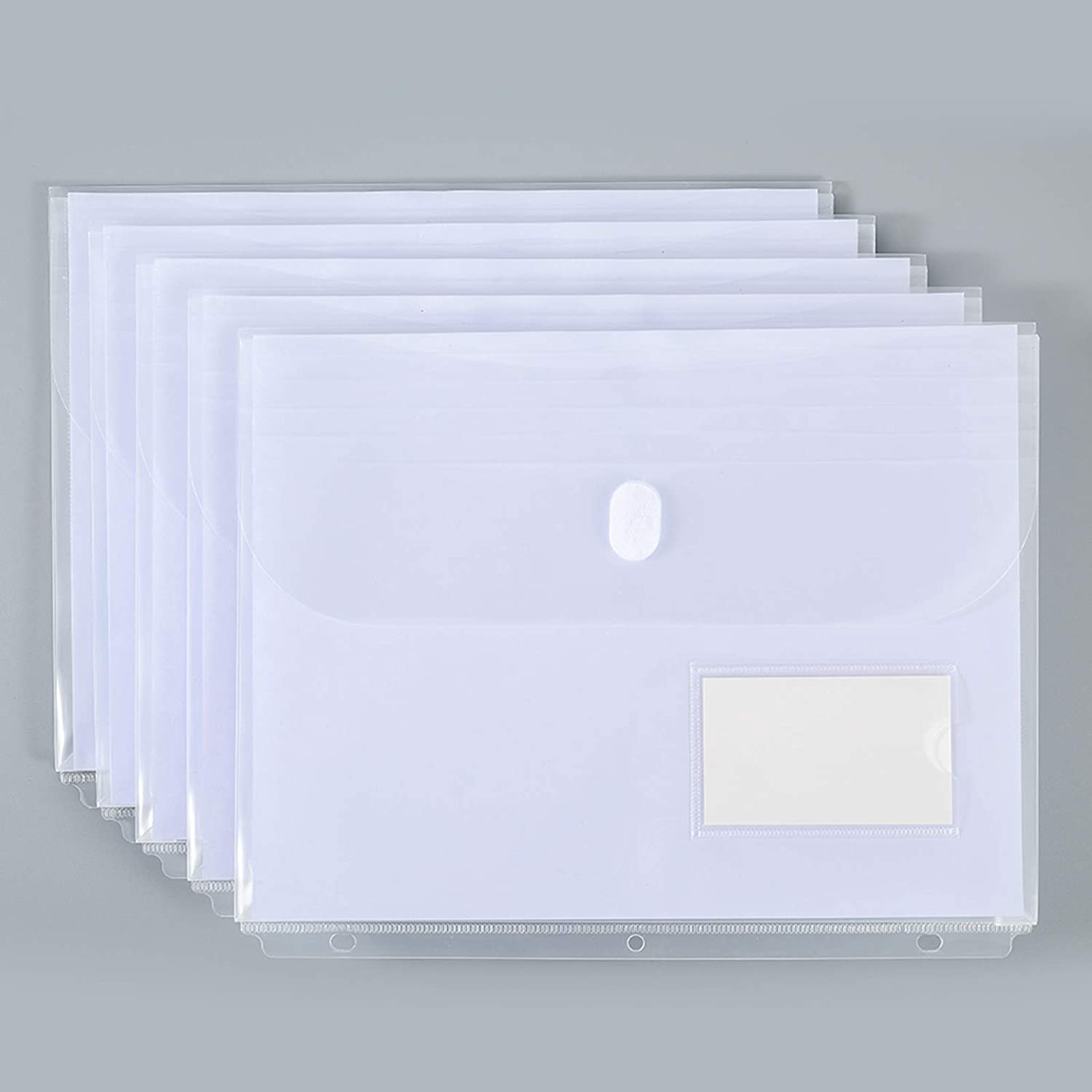 10 Pack Clear Poly Binder Pocket with 1-Inch Gusset, Side Loading,Letter Size, Pocket Folders Poly Envelopes Clear Document Folders for 3 Ring Binder with Label Pocket for School Home Office