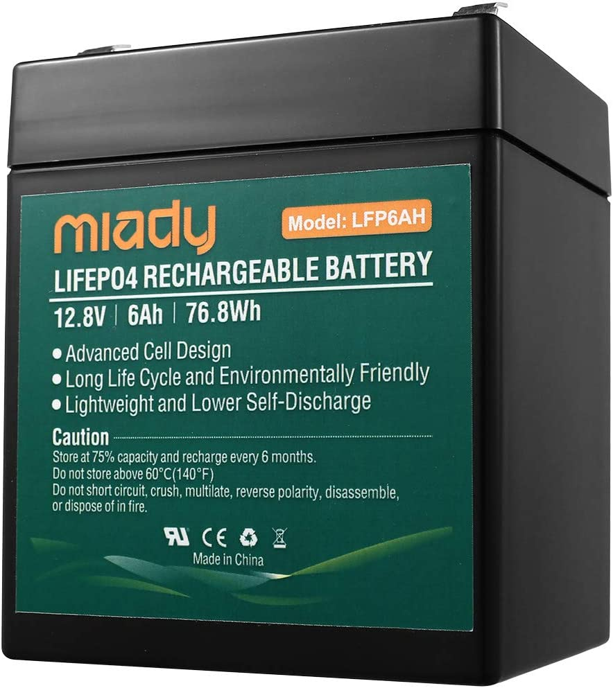 2000 Cycles 12V 6Ah Miady Lithium Iron Phosphate Battery, Rechargeable LiFePo4 Battery, Low Self-Discharge and Light Weight, for Kid Scooters, Fios Replacement Battery …
