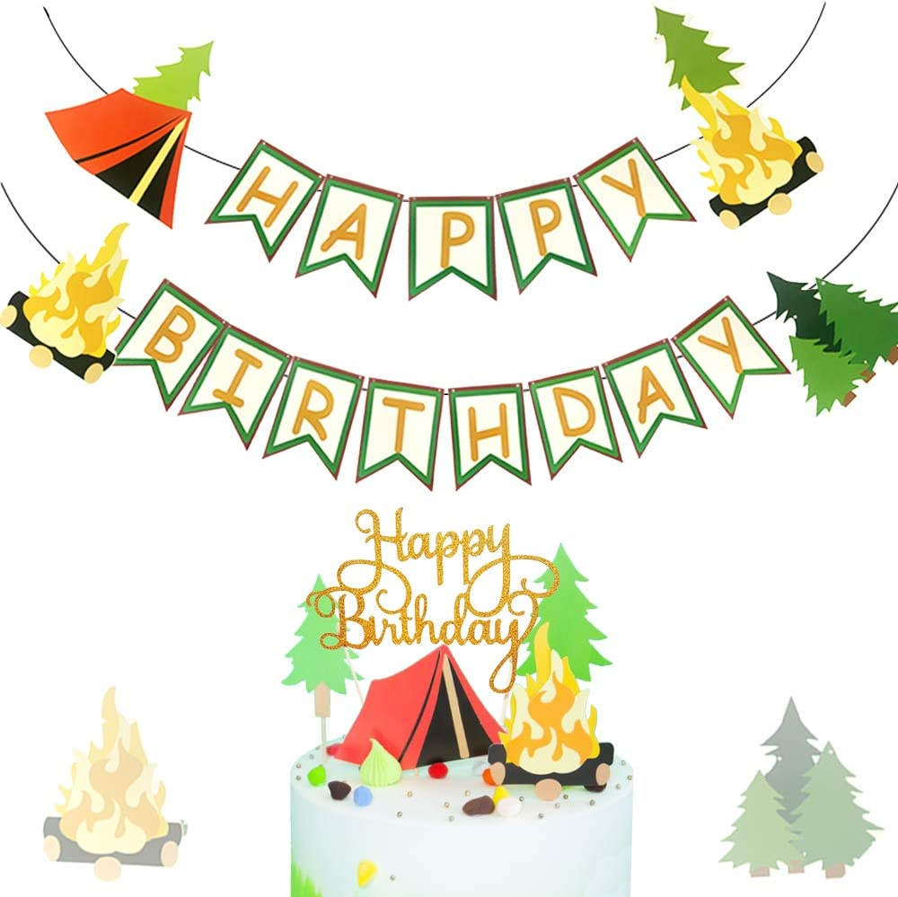 LaVenty 3 PCS Camping Birthday Party Decor One Happy Camper Party Decor Camping Lumberjack Party Decor One Happy Camper Banner