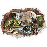 MLM 3D Dinosaurs Simulation Crack Hole Stickers Self-Adhesive Peel and Stick Wall Decal Mural Living Room Bedroom Kids…