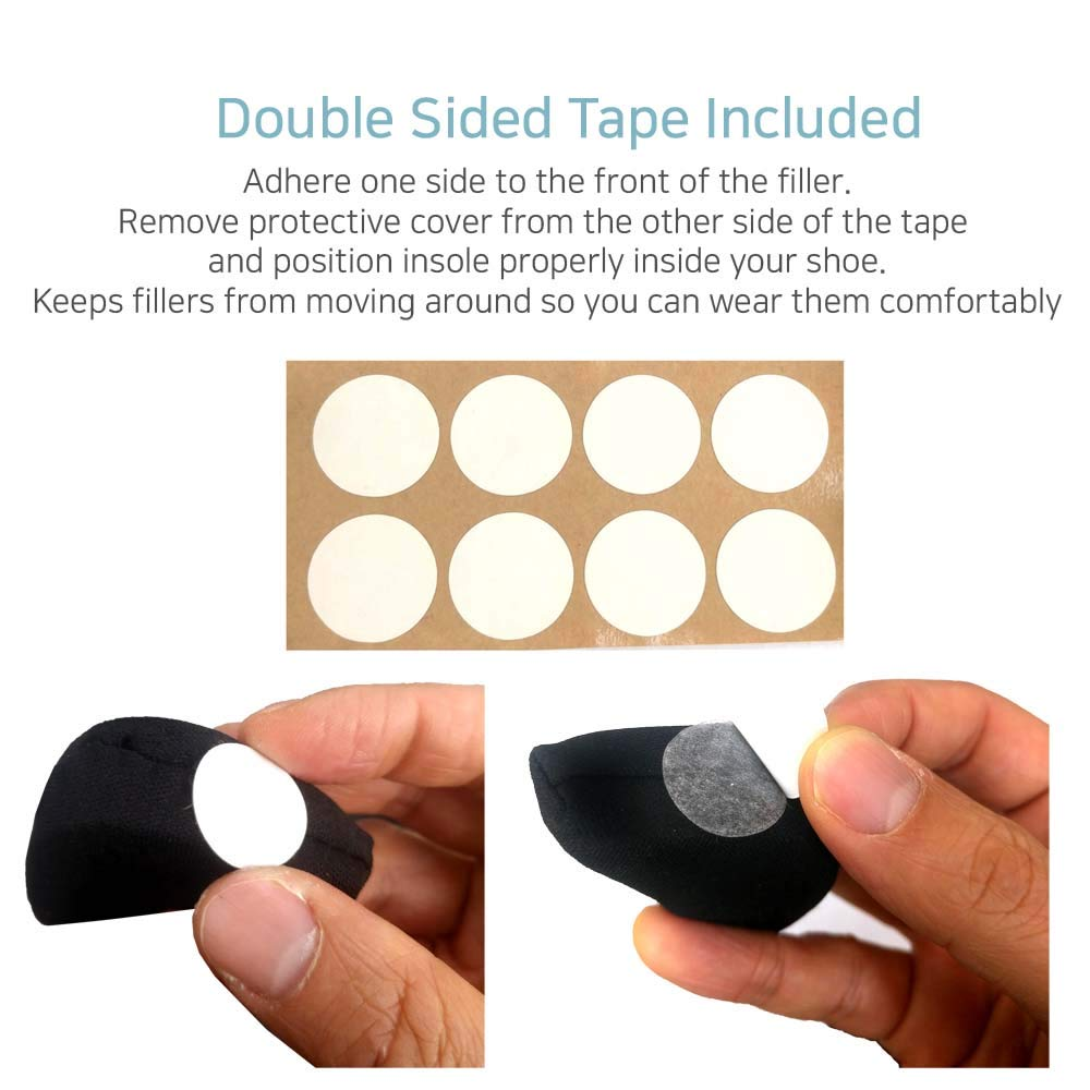 Comfysole Double Sided Tape Included Black Dress Shoes Shoe Fillers Sizers Fitters Inserts Shoesizers for Shoes That are Too Big for Men and Women Flats High Heels