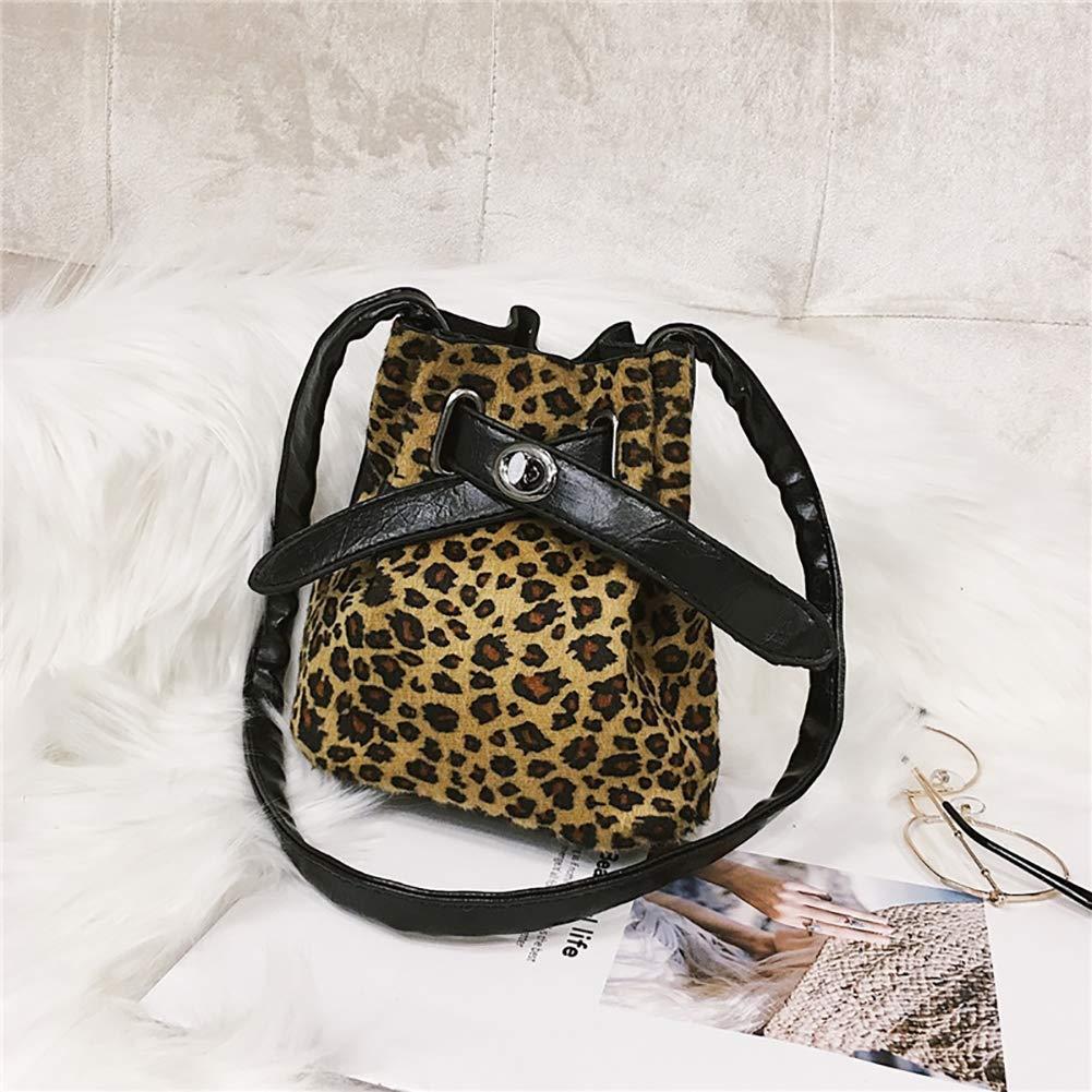 Dark Leopard Vintage Zebra Stripe//Leopard Print Girls Mini Bucket Crossbody Shoulder Bag Shoulder Pouch for Women