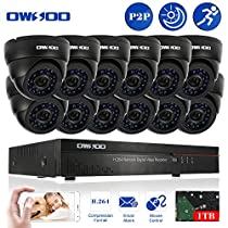 OWSOO 16CH CIF 1TB Hard Drive DVR with 12PCS Night Vision Built-in Waterproof IR LED Indoor 800TVL IR Cameras Surveillance CCTV Security Camera System - Black