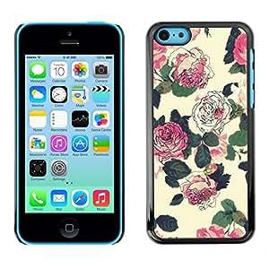 Be Good Phone Accessory // Dura Cáscara cubierta Protectora Caso Carcasa Funda de Protección para Apple Iphone 5C // begonia floral rustic vintage wallpaper