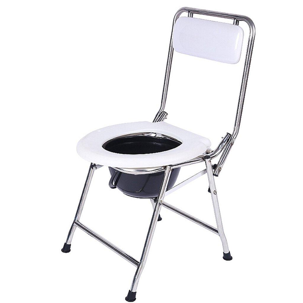 トイレ椅子、折りたたみ式老人妊婦浴室椅子バスルームステンレススチールトイレチェア B078YK1KF5