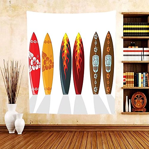 Gzhihine Custom tapestry Surfboard Decor Collection Collection of Boards with Hawaiian Patterns and Flames Mask Active Full of Life Stylish Swim Image Bedroom Living Room Dorm Tapestry - Australia Outlet Swim