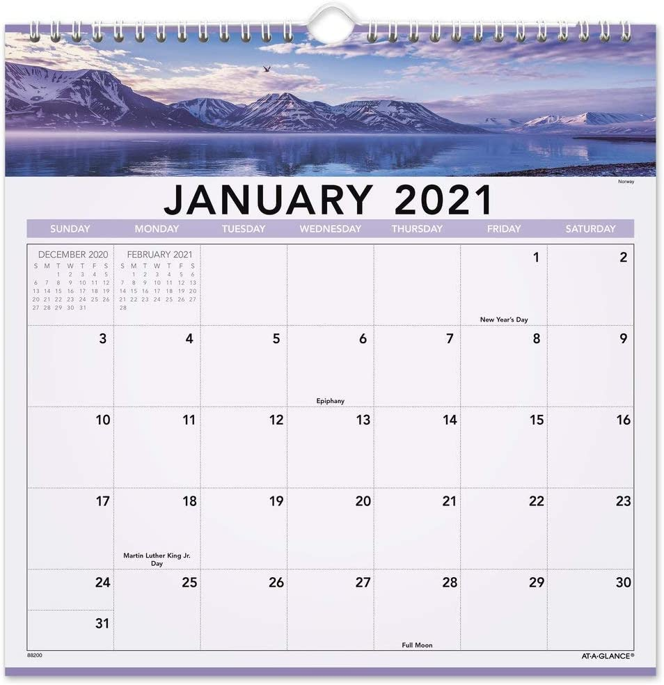 """2021 Wall Calendar by AT-A-GLANCE, 12"""" x 12"""", Medium, Monthly, Landscape (88200-21)"""