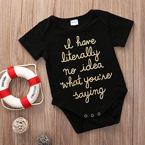 Cute Newborn Baby Golden Shiny Words Print Short Sleeve Summer Romper Bodysuit (0-3M, Black)