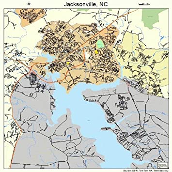 Large Street Road Map Of Jacksonville North Carolina Nc Printed