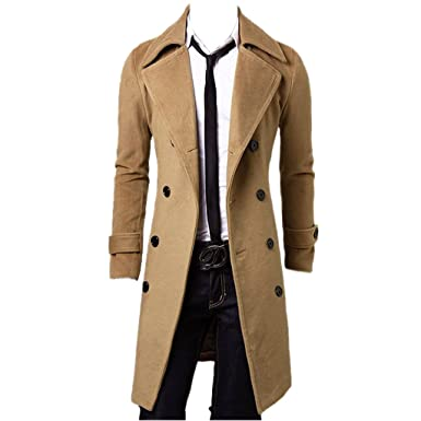 Tasso Herren Trenchcoat lange Jacke Zweireihig Mantel Herbst Winter Coat  Outfit: Amazon.de: Bekleidung