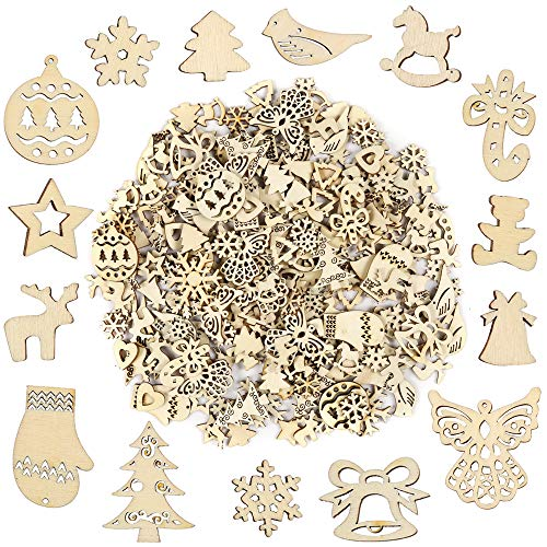 Christmas Ornament Shapes (Pllieay 250 Pieces Wooden Slices, Mix Different Shapes Small Handmade Christmas Series Embellishments Ornaments for Christmas Decorations, DIY Party Craft and Card)