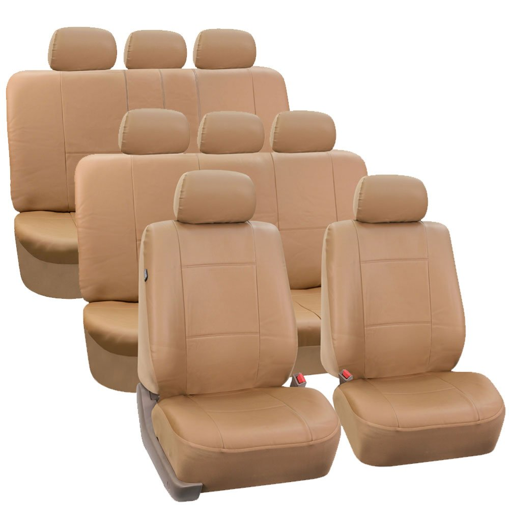 FH Group FH-PU002-1128 3 Row PU Leather Car Seat Covers w. 8 Headrests, Airbag compatible and Split Bench, Solid Beige color- Fit Most Car, Truck, Suv, or Van