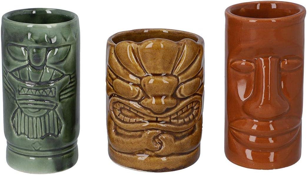 Home Office Table Room Decor Gift Set of 3 Multi Color Ceramics Tropical Hawaiian Tiki Mugs