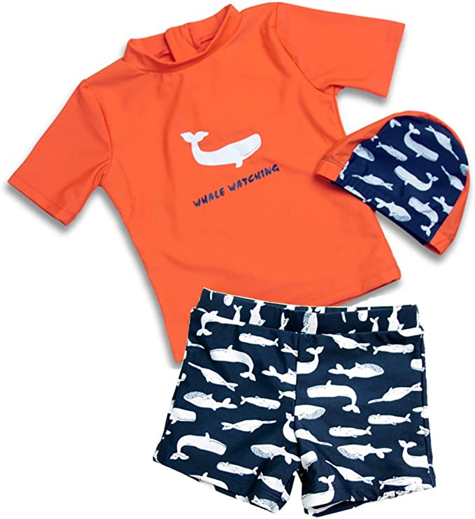 Toddler Kid Baby Girls Boys Shark Swimsuit Sun Protective Beachwear Swimwear Rashguard Bathing Suit Hat 1-6Y
