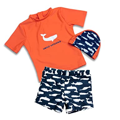 96518d658e Toddler Baby Boy Swimsuit Kid Two Pieces Rashguard Sun Protective Swimwear  Bathing Suit with Hat Shark