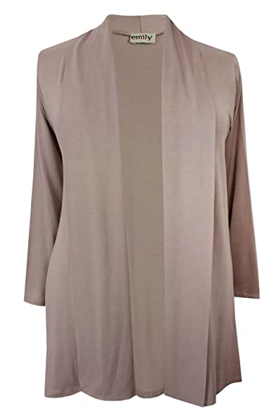Ladies Plus Size Light Mocha Brown Waterfall Jersey Cardigan ...