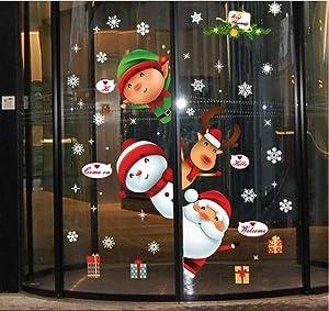AOBOR Christmas Decorations Window Clings Santa Claus Elf Reindeer Peeking Decals for Winter Wonderland Xmas Party Supplies, Merry Christmas Sticker Decals for Living Room Bedroom Wall Door D (A)
