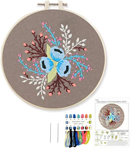 Embroidery Starter Kit with Pattern Cross Stitch Kit for Beginner Embroidery Clothes with Floral Pattern 6.5 Inches Stamped Embroidery Kit with Color Threads and Needles for Kids Adults