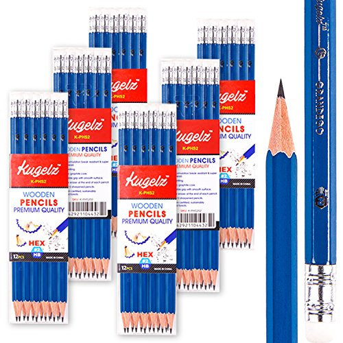 KUGELZ Writing Pencils 72/Set | Super #2 HB Premium Quality Blue Wooden Pencil w/ Dust-free Eraser – 100% Non-Toxic and Durable – Best for Students, Kids, Teachers – Bulk Pack of 72 Sharpened Pcs by Kugelz