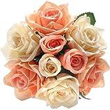 人造假花丝人造玫瑰 9 头新娘婚礼花束 适合家庭花园派对婚礼装饰(粉色香槟色). 香槟粉 1 bunch 43178-563050