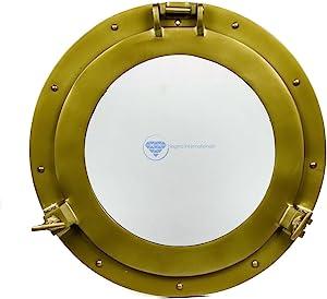 Nagina International Powder Coated Premium Nautical Aluminum Pirate's Ship's Porthole Window | Exclusive Wall Decor Accent (20 Inches, Antique Brass)