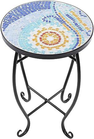 lyrlody Table de Jardin en Verre Peint en Forme de mosaïque ...
