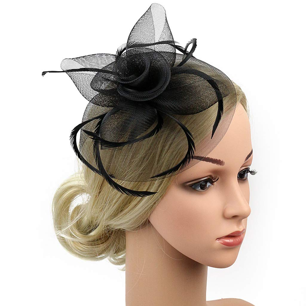 Fascinators Hat-Fascinator Headband for Women Feather Hat for Cocktail Tea Party
