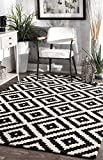 nuLOOM MTVS174A Handmade Tufted Kellee Area Rug, 10' x 14', Black