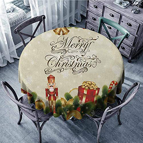 (ScottDecor Beach Round Tablecloth Outdoor Picnics Christmas,Festive Celebratory Pine Tree with Snowflakes and Stylized Writing Calligraphy, Multicolor Diameter 54